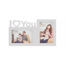 Rama foto colaj de birou, I love You, 18x32 cm, din lemn
