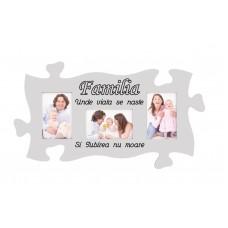 Rama foto tip puzzle, 3 poze 10 x 15,  Familia   Unde viata se naste si Iubirea nu moare